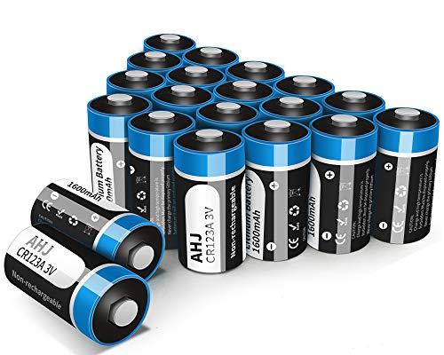 AHJ 20er Pack CR123A Batterien, CR17345 3V Lithium 1600mAh für Taschenlampe, Intelligente Instrumentierung, Alarmanlagen [Nicht wiederaufladbar, Nicht für Arlo]