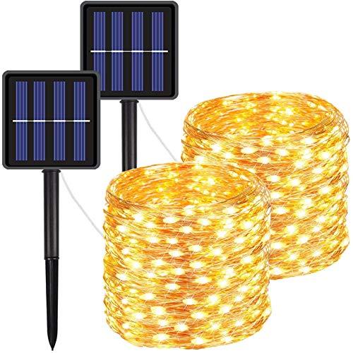 FOAMICHI 2 Pack Solar Lights Outdoor, Waterproof 200LED Solar Lights String 8 Modes Solar Fairy Lights for Lawn, Patio, Yard, Garden, Yard, Christmas Decor (Warm White)