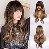 BOGSEA Long Wavy Wigs with Bangs Ombre Dark Blonde Wigs for Women Dark Blonde Ombre Wig with Brown Root Heat Resistant Synthetic Wigs for Daily Party Cosplay Wear (24 Inch,Ombre Dark Ashy Blonde)