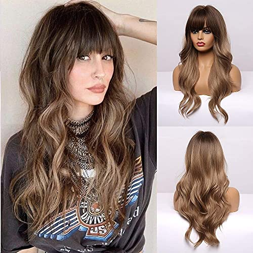 BOGSEA Long Wavy Wigs with Bangs Ombre Dark Blonde Wigs for Women Dark Blonde Ombre Wig with Brown Root Heat Resistant Synthetic Wigs for Daily Party Cosplay Wear 24 InchOmbre Dark Ashy Blonde