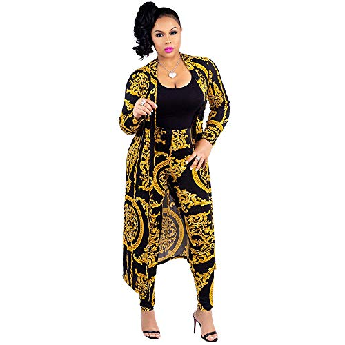 Women 2 Piece Club Outfits Long Sleeve Floral Open Front Cardigan and Pants Set (X-Large, Black)