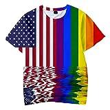 INSTO Lgbt Pride T-Shirt Unisex Rainow Gay Lesbian Transegendo Bisexual Bienshir Biensa Cuello Redondo Camisa de Manga Corta para Hombres Mujeres,H,M