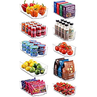 Set Of 10 Refrigerator Organizer Bins - 5 Wide and 5 Narrow Stackable Fridge Organizers for Freezer, Kitchen, Countertops, Cabinets - Clear Plastic Pantry Storage Rack
