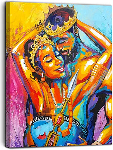 Vantboo African American King And Queen Crown Lovers Couple Canvas Prints Wall Art Paintings Home Decor Artworks Pictures For Living Room Bedroom Bathroom Decoration Ready To Hang 16 X 20 Inches