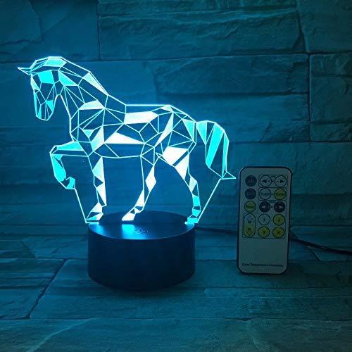 Sanzangtang Led-nachtlampje, 3D-vision-zeven, kleuren-afstandsbediening, acryl, stereo vision-lamp, paard binnendecoratie, kleurverandering, slaapkamer, nachtkastje, lampje, kindernachtlampje