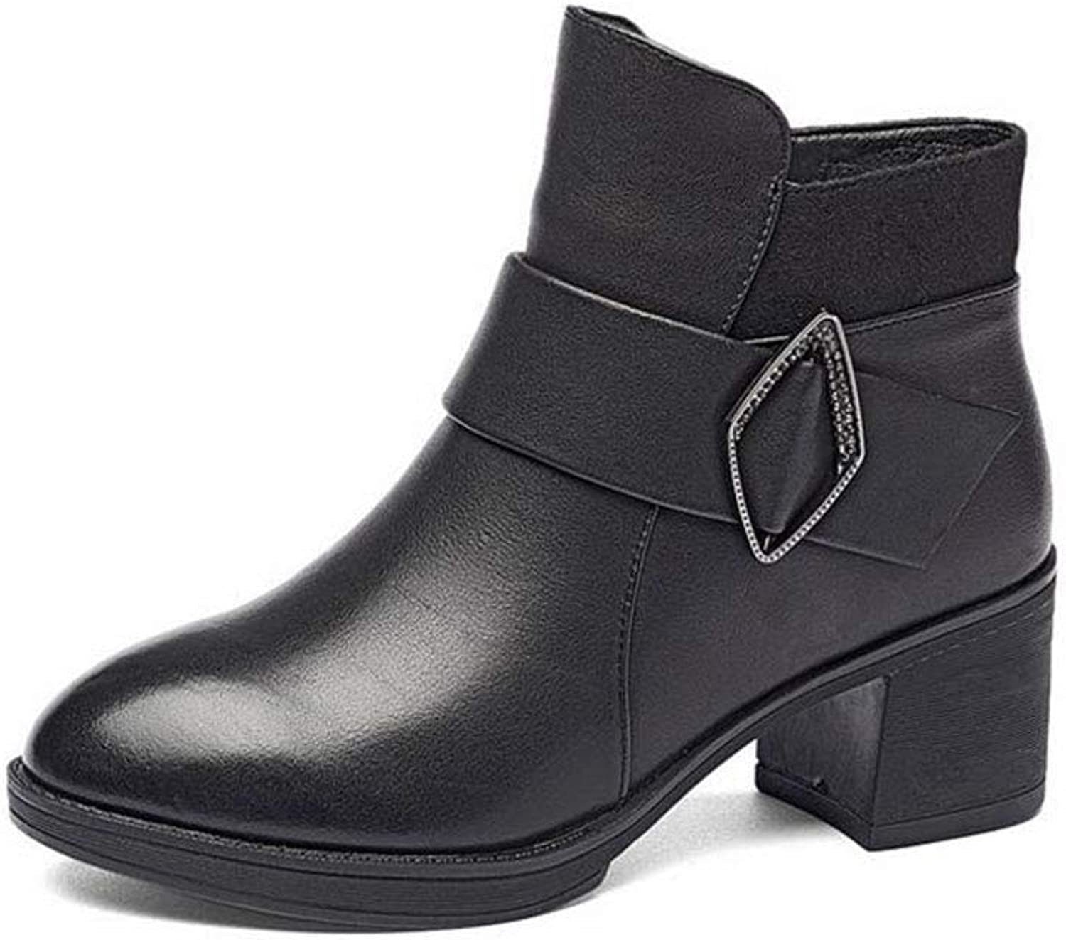 Women's Ankle Boots, High-Heeled Leather Martin Boots Ladies Booties Thick Round Head Breathable Leather Boots (color   Black, Size   37)