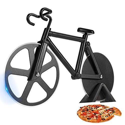 SCHVUBENR Bicycle Pizza Cutter Wheel - Funny Gifts for Cyclists Men - Bike Pizza Cutter - Cute Kitchen Gifts for Men - Stainless Steel Pizza Slicer - Cool Kitchen Gadgets(Black)