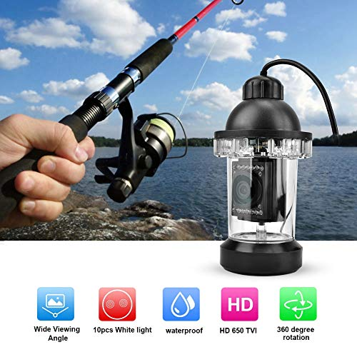 Onderwater Fish Finder visserij videocamera, waterdichte 650TVL HD LED onderzeese kleurenmonitor met 360 ° rotatie voor Ocean Ice Lake (20M)