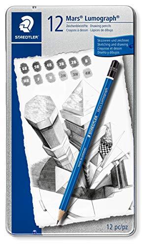 Staedtler Mars 100 G12 tekenpotlood Lumograph, zeskantvorm, ongelooflijk breukvaste premium potloden, hoge kwaliteit, 12 hardheidsgraden, metalen etui