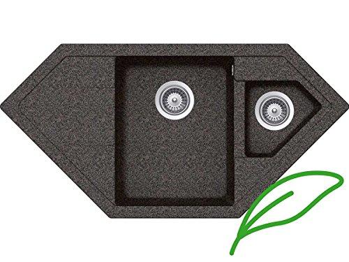 Schock Signus C-150 A Rockenstein SIGC150AROC Granitspüle Einbau-Spüle Grau Eckspüle Küche