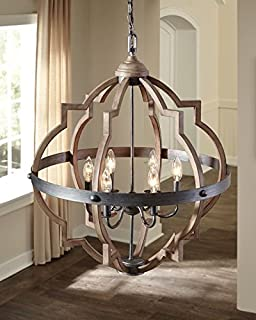 Saint Mossi Oil Rubbed Bronze Farmhouse Chandelier Lighting Flush mount LED Ceiling Light Fixture Pendant Lamp for Dining Room Bathroom Bedroom Livingroom 6 E12 LED Bulbs Required Height 29 x Width 21