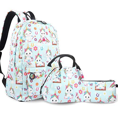 RLGPBON Einhorn Rucksack Damen Schulranzen Schulranzen Mädchen Casual 3-in-1 Rucksack Schulrucksack Lunchtasche Stiftetasche