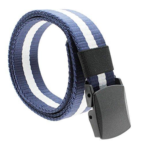 GGG Waistband Gurtband Leinwand Unisex Automatische Schnalle Gürtel Blau & Weiß