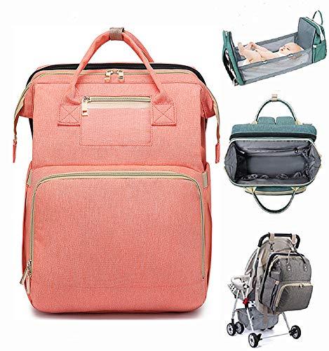Mochila para cuna portátil, multifuncional, bolsa de pañales de gran capacidad, bolsa de almacenamiento aislado, al aire libre, plegable, para bebé, viajes, dormir, jugar (rosa)