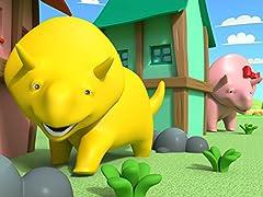 キューブで,恐竜のダイノと一緒に動物の名前を学ぼう&恐竜のダイノの幼稚園用のリュックを使って色を学ぼう