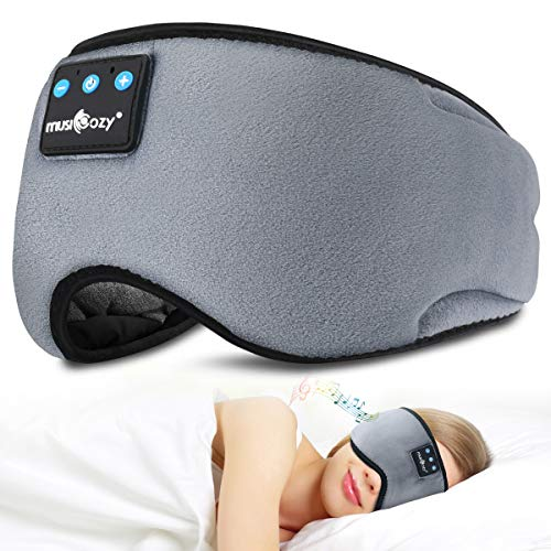 Bluetooth Sleep Eye Mask Wireless Headphones, TOPOINT Upgrade Sleeping Travel Music Eye Cover Bluetooth Headsets with Microphone Handsfree, Long Play Time, Black (Grey)