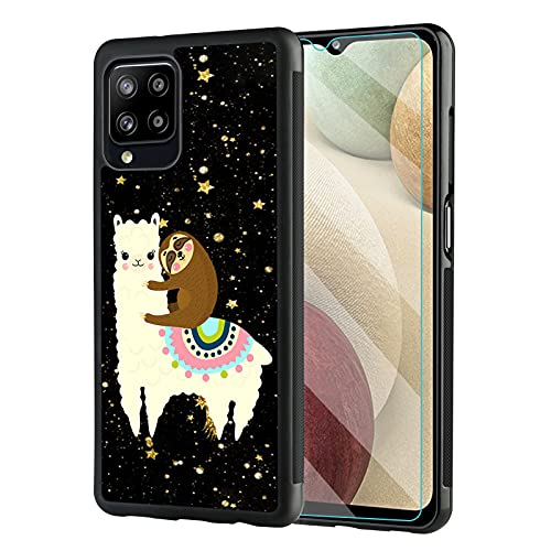 Cute Galaxy A12 5G Case with Screen Protector for Women Men,Tire Outline Anti-Slip Shock Absorb Design,Alpaca Sleeping Sloth Protective Case for Samsung Galaxy A12 5G 6.5 Inch 2020 Release