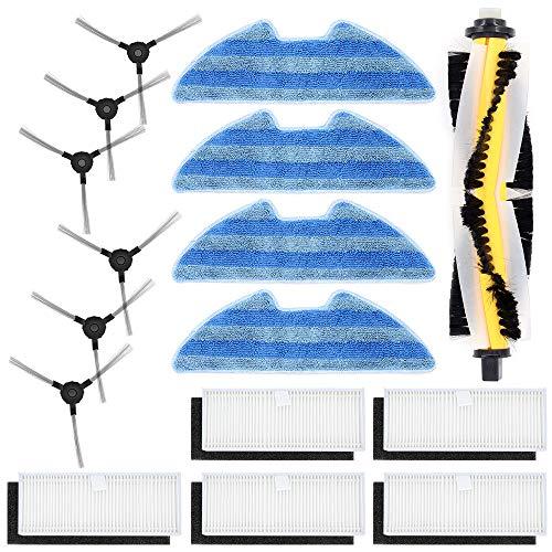 DingGreat Ersatzteile Zubehör für Proscenic VSLAM 811GB VSLAM 911SE Roboter-Staubsauger, Packung mit 1Hauptbürste 5 Filters 6 Seitenbürsten 4 Mopp Tücher