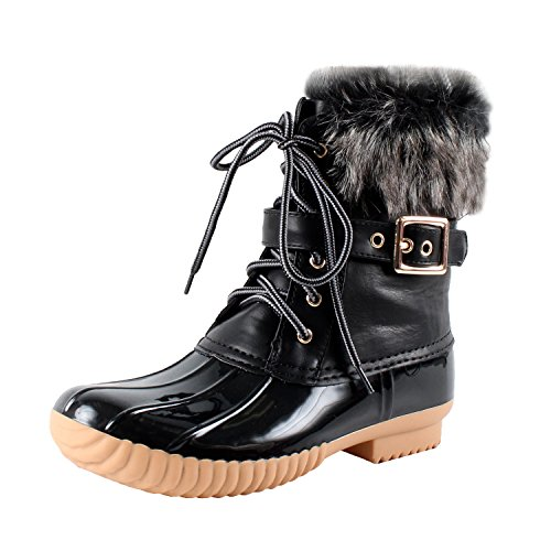 Nature Breeze Duck-01 Women's Chic Lace Up Buckled Duck Waterproof Snow Boots,Black,10