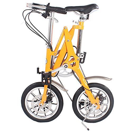 DRAKE18 Faltrad, Mini Faltrad 16 Zoll 7 Geschwindigkeit Variable Geschwindigkeit Doppelscheibenbremse Falten Erwachsene Männer und Frauen im Freien Reiten Reisen,Orange