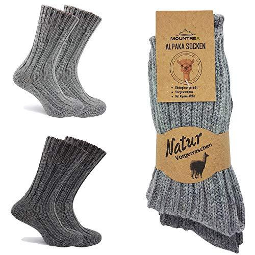 MOUNTREX Alpaka Socken, Wollsocken für Damen, Herren - Stricksocken - 90% Wolle, 10% Polyamid - 2 Paar, Grau/Dunkelgrau (Dick - wie gestrickt), 39-42