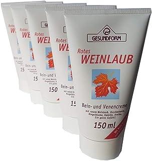Hochwertige Bein- und Venencreme mit rotem Weinlaub, Roßkastanie, Ringelblume, Kamille und Arnika für ein gutes Gefühl in den Beinen Spar-Set 5x150ml in der Tube