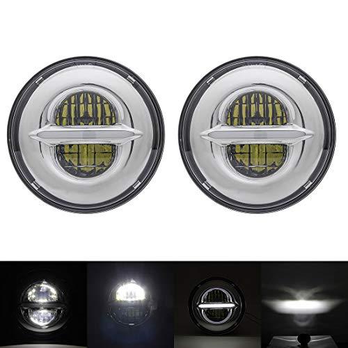 1 paire de phares ronds à DEL de 7 po avec DRL avec faisceau de croisement élevé / faible pour Wrangler CJ JK TJ 97-2015, Harley Davidson, chrome (blanc)