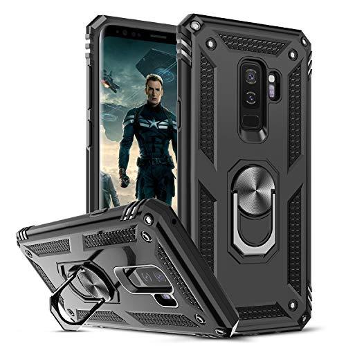 LeYi per Cover Samsung Galaxy S9 Plus Custodia Silicone Antiurto Protettivo, 360°Rotante Anello Supporto Difesa Militare Case Bumper Custodia per Originale Samsung S9 Plus Nero