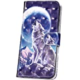 JAWSEU Kompatibel mit Samsung Galaxy S9 Plus Hülle Leder Schutzhülle 3D Muster Bling Glitzer PU Leder Flip Case Wallet Tasche Brieftasche Handyülle Klapphülle Tasche Kartenfächer,Schnee Wolf
