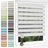 Doppelrollo klemmfix ohne Bohren Duo Rollo für Fenster,lichtdurchlässig und verdunkelnd Wandmontage Sichtschutz, 70 x 120 cm(BxH) Weiß