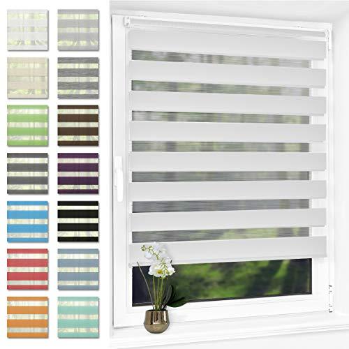 Doppelrollo klemmfix Duo Rollo ohne Bohren,Rollos für Fenster und Tür,lichtdurchlässig und verdunkelnd 100 x 210 cm(BxH) Weiß