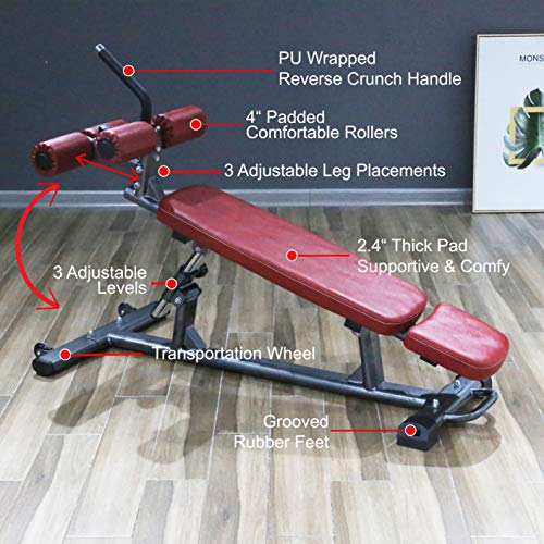 Finer Form Semi-Commercial Sit Up Bench For Decline Bench Press and Core Workouts, with Reverse Crunch Handle for Ab Exercises and 4 Adjustable Height Settings (Red)