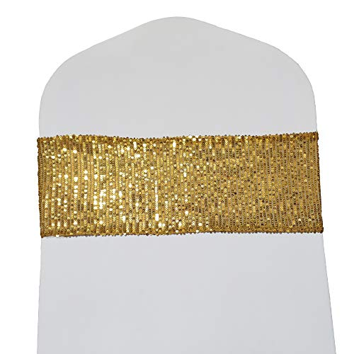 SheYang High Elastic Sequin Chair Sashes Bands for Wedding Party Decoration Soft Sashes, Shining Sequin Chair Bows for Party Decoration Home (12PCS, Gold)
