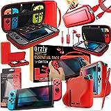 Orzly Ultimate Pack Accesorios para Nintendo Switch [Incluye: Protectores de Pantalla, Cable USB, Funda para Consola, Estuche Tarjetas de Juego, Funda Comfort Grip Case, Auriculares] – Rojo