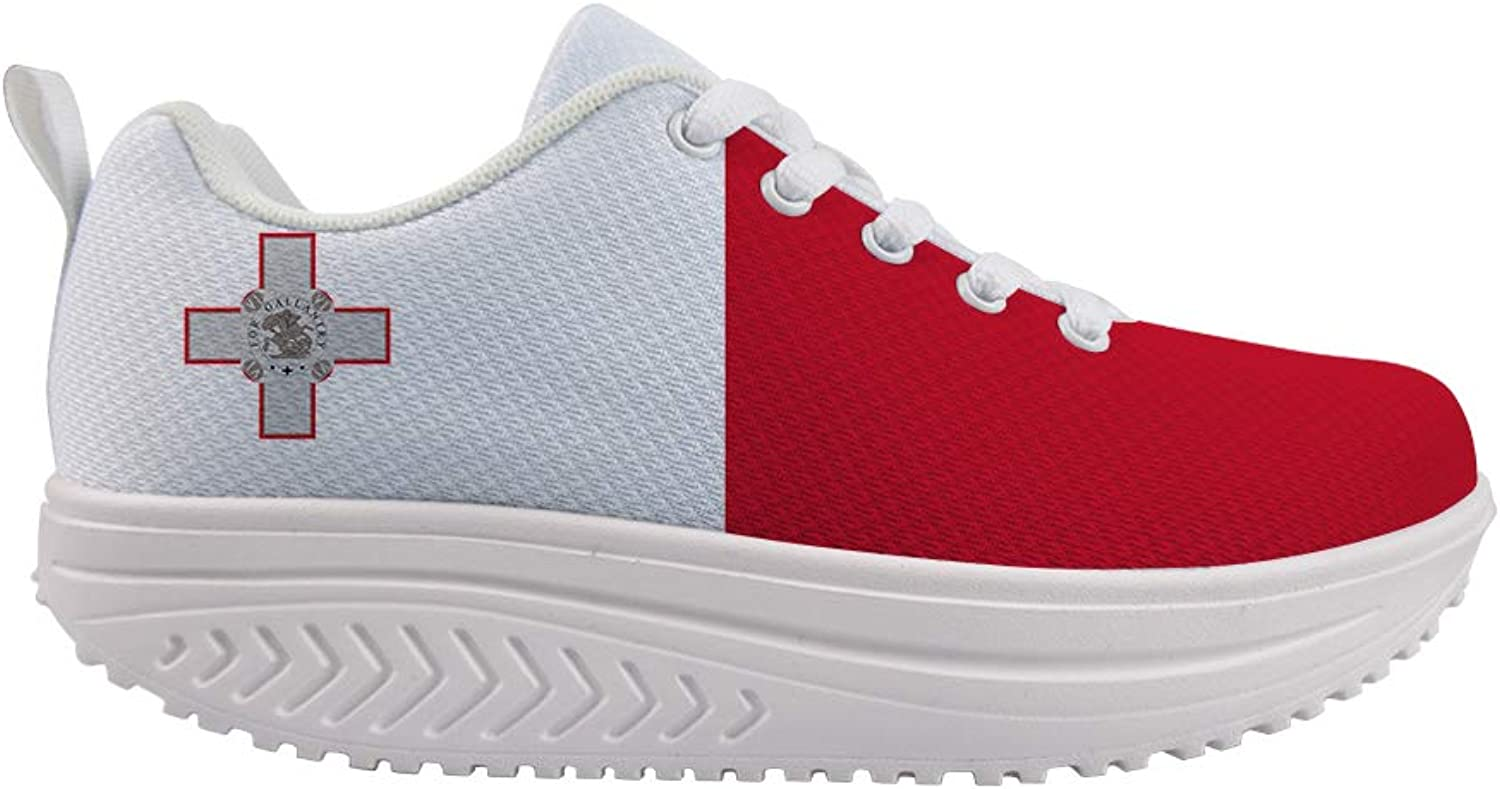 Owaheson Swing Platform Toning Fitness Casual Walking shoes Wedge Sneaker Women Republic of Malta Flag