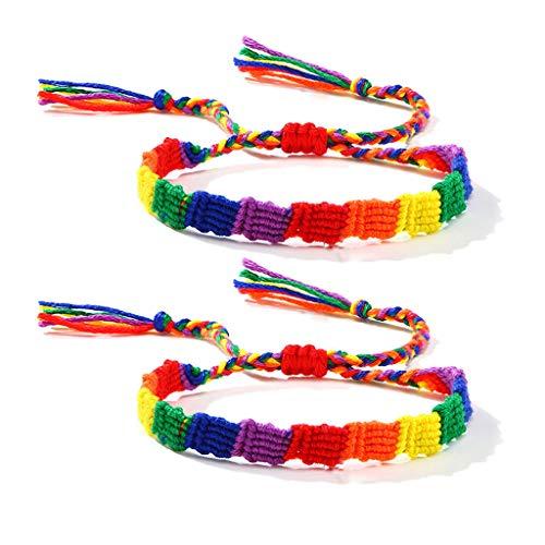 YU-HELLO_2Pcs Rainbow Gay & Lesbian Love Pride Braided Macrame Bracelet Lover Wristband