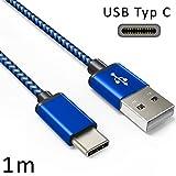 Coverlounge - Nylon USB Typ C Kabel/Datenkabel/Ladekabel [2.1 A] kompatibel für alle Xiaomi Smartphones mit USB Typ C Anschluss | Farbe: Dunkel Blau | Länge: 1 Meter / 1m