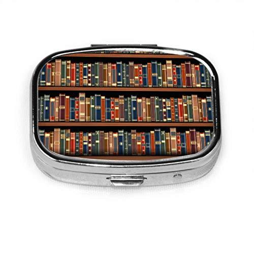 Tabelle auf Bücherregal volle Bücher Pille Box süße Pillen Fall Tablet-Halter Brieftasche Organizer Fall für Tasche oder Geldbörse