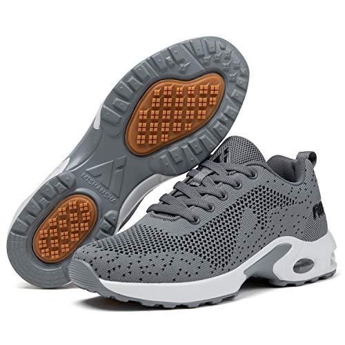 Mishansha Air Sneakers Mujer Running Zapatillas Niña Sport Correr Transpirable Deportes Zapatos Femenino Antideslizantes Respirable Gris/Clásico 39