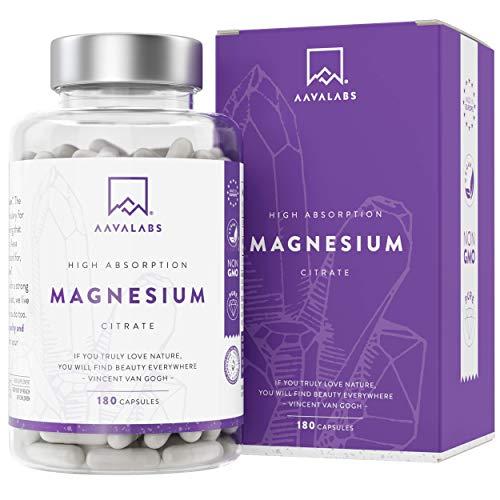 Citrato de Magnesio [ 400 mg por cápsula] Vegano de AAVALABS - Alta Dosis de Magnesio Elemental [ 448 mg por dosis] - 180 cápsulas - Puro - Suministro de 3 meses