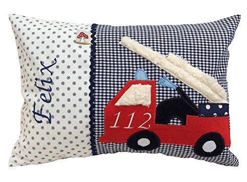 Glückspilz Namenskissen Babykissen I Feuerwehr I Kissen mit Namen personalisiert I Geschenk zu Geburt, Taufe, Geburtstag I verschiedene Größen (25 x 35 cm)