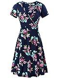 MSBASIC A-line Dress Knee Length Summer Dress for Women Navy Peony XL