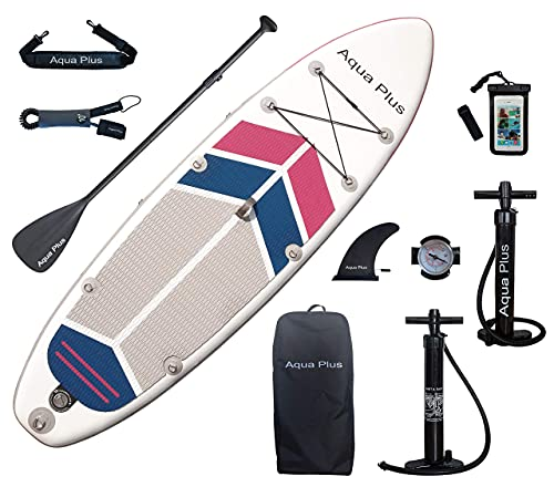 Aqua Plus 10ftx32inx6in Inflatable SUP for All Skill Levels Stand Up Paddle Board, Adjustable Paddle,Double Action Pump,ISUP Travel Backpack, Leash,Shoulder Strap,Youth & Adult Inflatable Paddle Board