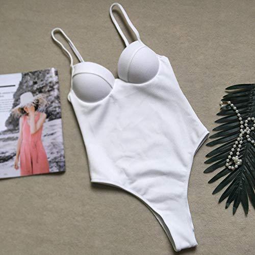 TAYIBO Bañador Push up Ropa de Baño Cintura Alta,Body Push-up, Bikini Blanco Sexy, Traje de baño Retro de una pieza-YF1041_White_L