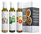 3er Probier-Paket Terre Francescane - Extra Natives Olivenöl Dressing mit Orangen, Basilikum und Knoblauch (3 x 250 ml)