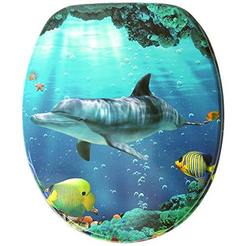 Asiento de inodoro, gran selección de atractivos asientos de inodoro con calidad superior y duradera de madera (Delfín)