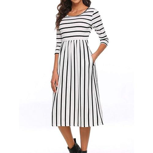 c82850bb538 Naggoo Women s 3 4 Sleeve Striped Dress Elastic Waist Tunic T-Shirt Dress  Pocket
