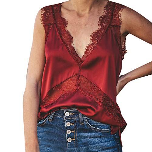 Mujer sin Mangas con Cuello en V de Encaje Patchwork Slim Fit Camiseta Top Blusa