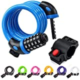 NDakter Bike Lock Cable ,4 Feet High Security 5 Digit Resettable Combination Coiling Bike Cable Lock ,Bicycle Cable Lock for Bicycle Outdoors, 1.2mx12mm