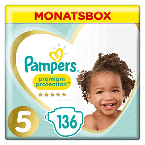 Pampers Premium Protection Windeln, Gr. 5, 11kg-16kg, Monatsbox (1 x 136 Windeln)